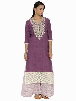 Purple plain khadi kurta sets