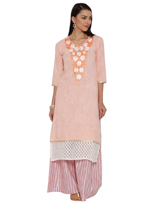 Orange plain khadi kurta sets