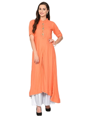 Peach plain polyester kurta sets