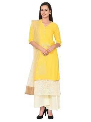 Yellow plain rayon kurta sets
