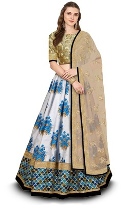 Off-White Botanical Floral Print Designer Semi Stitched Lehenga Choli For Wedding