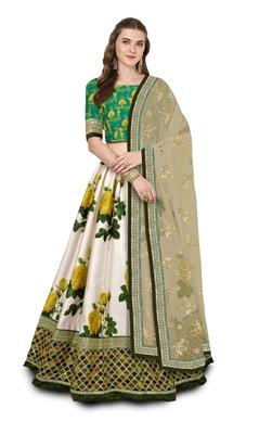 Off-White Colored Yellow Rose Printed Embroidered Art Silk Designer Lehenga Choli For Wedding
