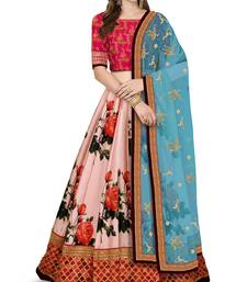 Rose Pink Colored Digital Print Embroidered Art Silk Designer Lehenga Choli For Wedding