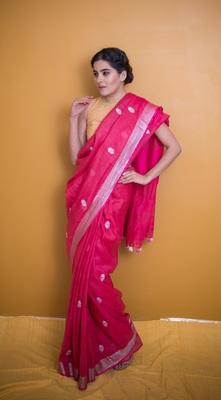 Dark Rose Pink Saree with Pom Poms In Khadi Linen