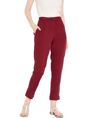 Women Maroon Solid Trousers