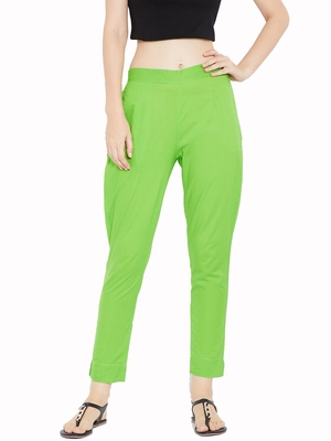 Women Lime Green Solid Trousers