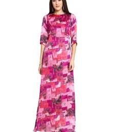 Fuschia Purple Printed Maxi Dress