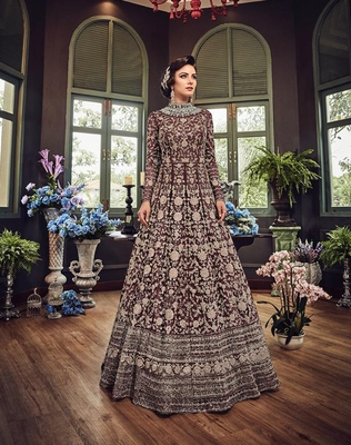 Chocolate embroidered net Anarkali suit