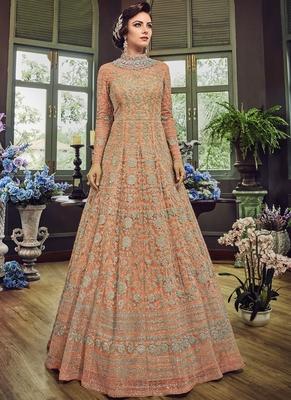 Light-peach embroidered net salwar