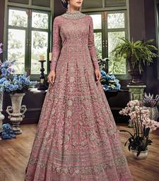 Light-wine embroidered net Anarkali