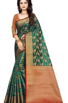 a9a3f0ca0 Dark green woven banarasi silk saree with blouse