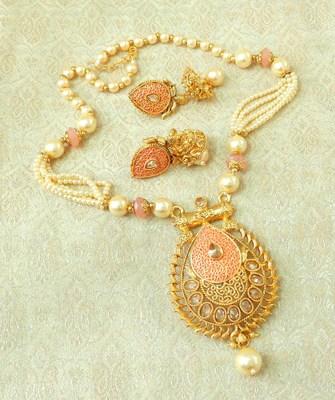Lalso Beautiful Peach Meenakari Enamel And Patwa Work AD Zircon Pendant Set - LMNPS03_PH