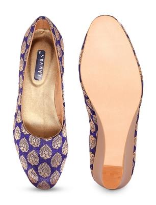 Women Blue Ethnic Printed Wedge Heels