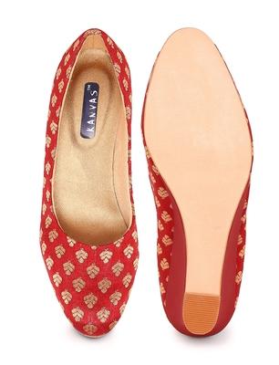 Women Red Ethnic Printed Wedge Heels