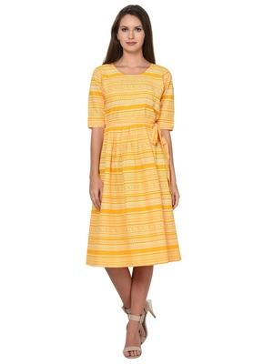 Yellow White Cotton Pleated Dress