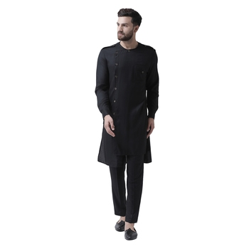 Black Plain Pure Viscose Rayon Men Kurta
