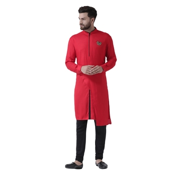 Red Plain Pure Viscose Rayon Men Kurta