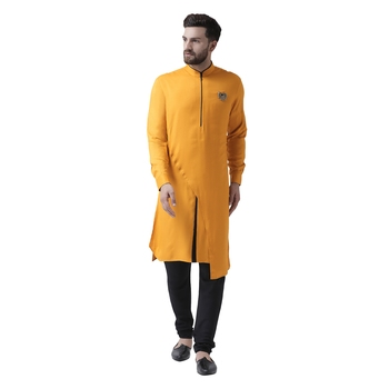 Yellow Plain Pure Viscose Rayon Men Kurta