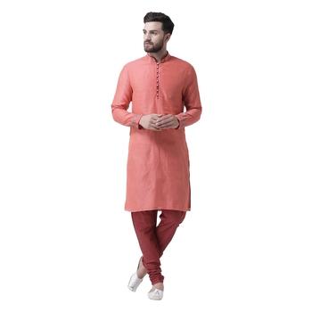 Pink Embroidered Chanderi Silk Men Kurta