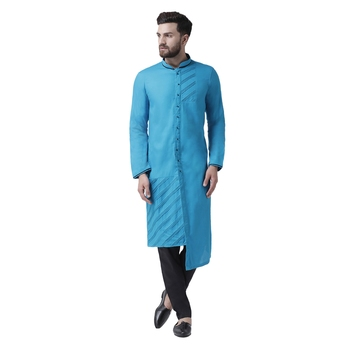 Blue Plain Cotton Kurta Pajama