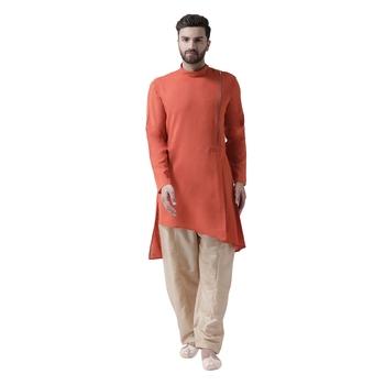 Orange Plain Silk Blend Kurta Pajama