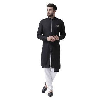 Black Plain Pure Viscose Rayon Kurta Pajama