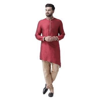 Maroon Embroidered Silk Kurta Pajama