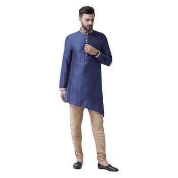 Blue Embroidered Silk Kurta Pajama