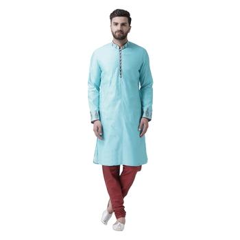 Blue Embroidered Silk Blend Kurta Pajama
