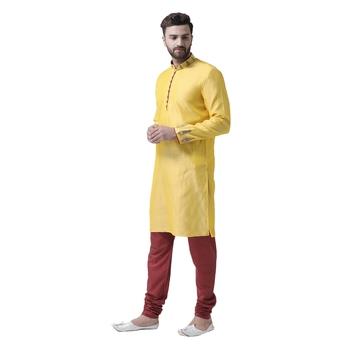 Yellow Embroidered Silk Blend Kurta Pajama