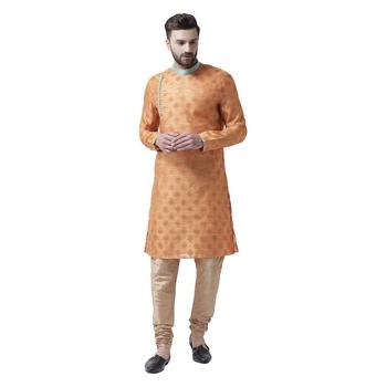 Orange Plain Silk Kurta Pajama