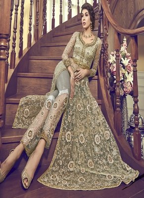Light-green embroidered net semi stitched salwar with dupatta