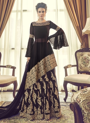 Wine embroidered georgette semi stitched salwar with dupatta