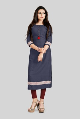 Light-navy-blue printed rayon cotton-kurtis