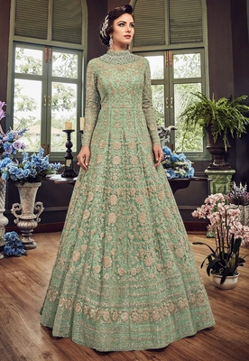 Sea-green embroidered net semi stitched anarkali with dupatta