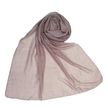 Purple  embroidered cotton hijab