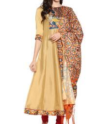 gold printed art silk kurta sets