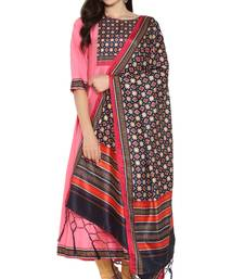 pink printed art silk kurta sets