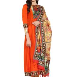 orange printed art silk kurta sets
