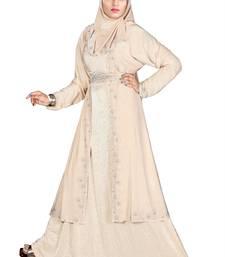 Beige printed polyester abaya