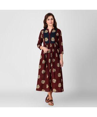 Blue Yoke Kalamkari Print Dress