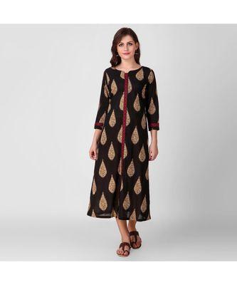 Black Kalamkari Cotton Dress with Top Stitch Detail