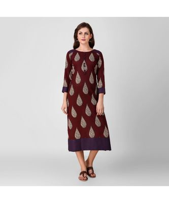 Maroon Kalamkari Cotton Dress with Top Stitch Detail