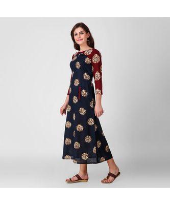 Maroon Kalmkari Patch Dress