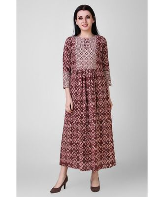 Rust Dabu-Printed Cotton Dress