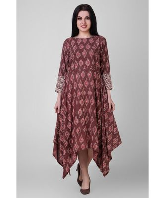 Rust Dabu Assymetrical Dress
