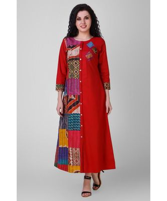 Red Cotton Silk Kantha Patchwork Dress