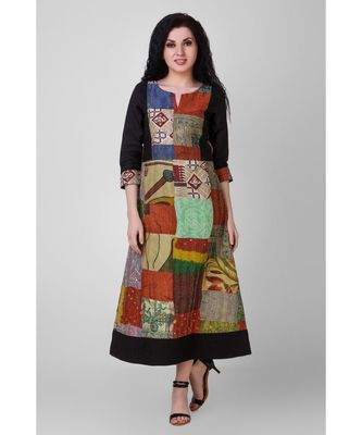 Multicolored Cotton-silk Dress with Kantha Embroidery