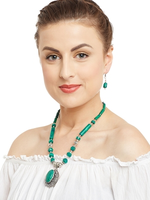 Green Plain Casual Necklace Sets