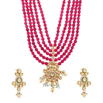 Red Plain Festival Necklace Sets
